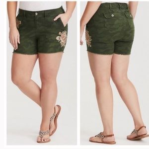 Torrid Camo Embroidered Shorts